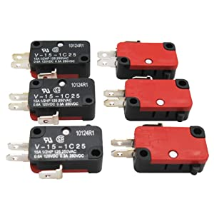 Twidec / 6Pcs 125V/250V 16A SPDT Snap Action Button Micro Limit Switch for Microwave Oven Door Arcade V-15-1C25