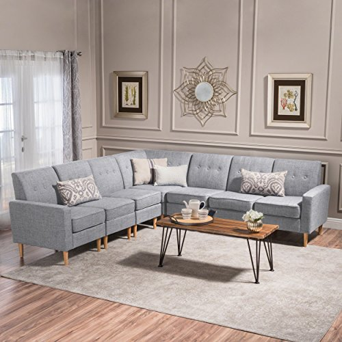 Great Deal Furniture Samuel Mid Century Modern 7 Piece Light Grey Tweed Fabric Sectional Sofa Set