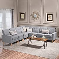 Great Deal Furniture Samuel Mid Century Modern 7 Piece Light Grey Tweed Fabric Sectional Sofa Set