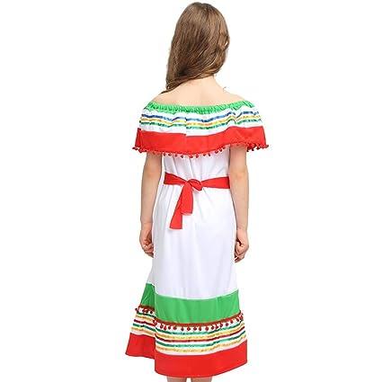 Amosfun Vestidos Mexicanos Para Niñas Con Sombrero Mexicano