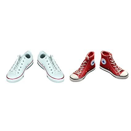 2 Pairs Red White 1:6 Scale Casual Canvas Shoes for 12/'/' Female Body Dolls