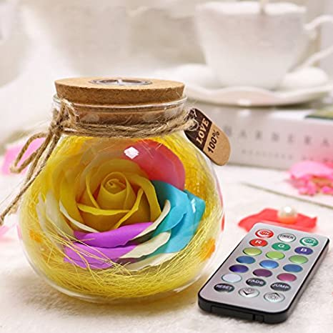Juneslife Creative LED Night Light Wishing Bottles Rose Lucky Glass Bottle with Remote Control for Christmas Valentines Day Birthday Present-Yellow