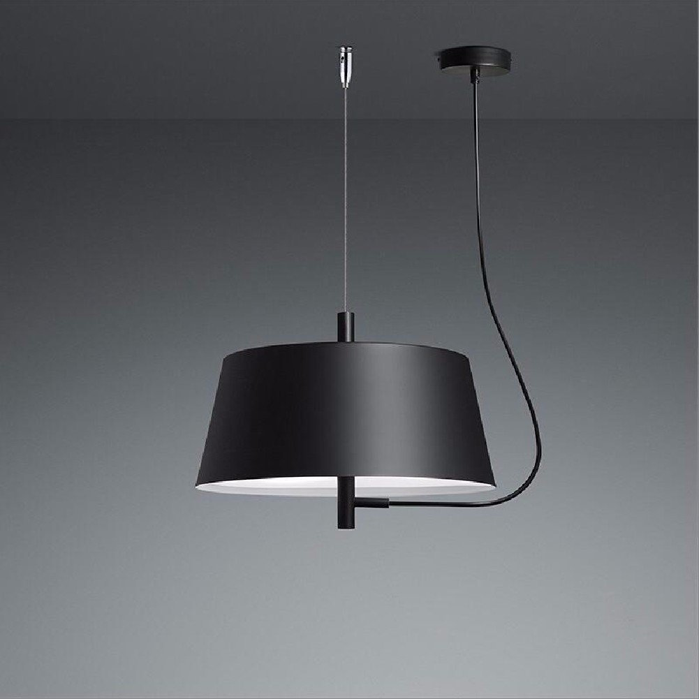 HQLCX Chandelier Modern Minimalist Dining Room Bedroom Chandelier Black Single Head Chandelier 280Mm