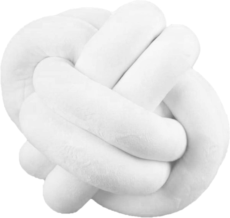 Knot Ball Pillow Household Throw Pillow Decoration Knot Pillow Home Decorative Cushion - Modern Home Sofa Decor Pillows Pillow 9.8inch (White)'