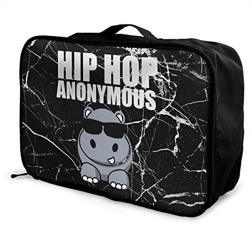 Hip Hop Funny Hippo Luggage Bag Capacity Portable Large Travel Duffel Bag Cosmetic Makeup