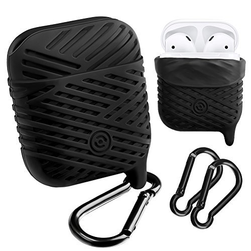 Compatible AirPods Case, NaHai Soft Silicone Case Water Resistant Shock Proof Protective Cover for AirPods Charging Case (Black)