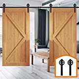 HomeDeco Hardware 16 FT Big Wheel Kitchen Coffee Rustic Sliding Wood Barn Door Rolling Antique Hardware Flat Tracks Double Doors Kit