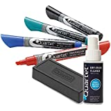 Quartet EnduraGlide Accessory Kit, 4 Chisel-Point Dry Erase Markers in Mixed Colors, with Eraser & Cleaning Spray (5001M-4SK)