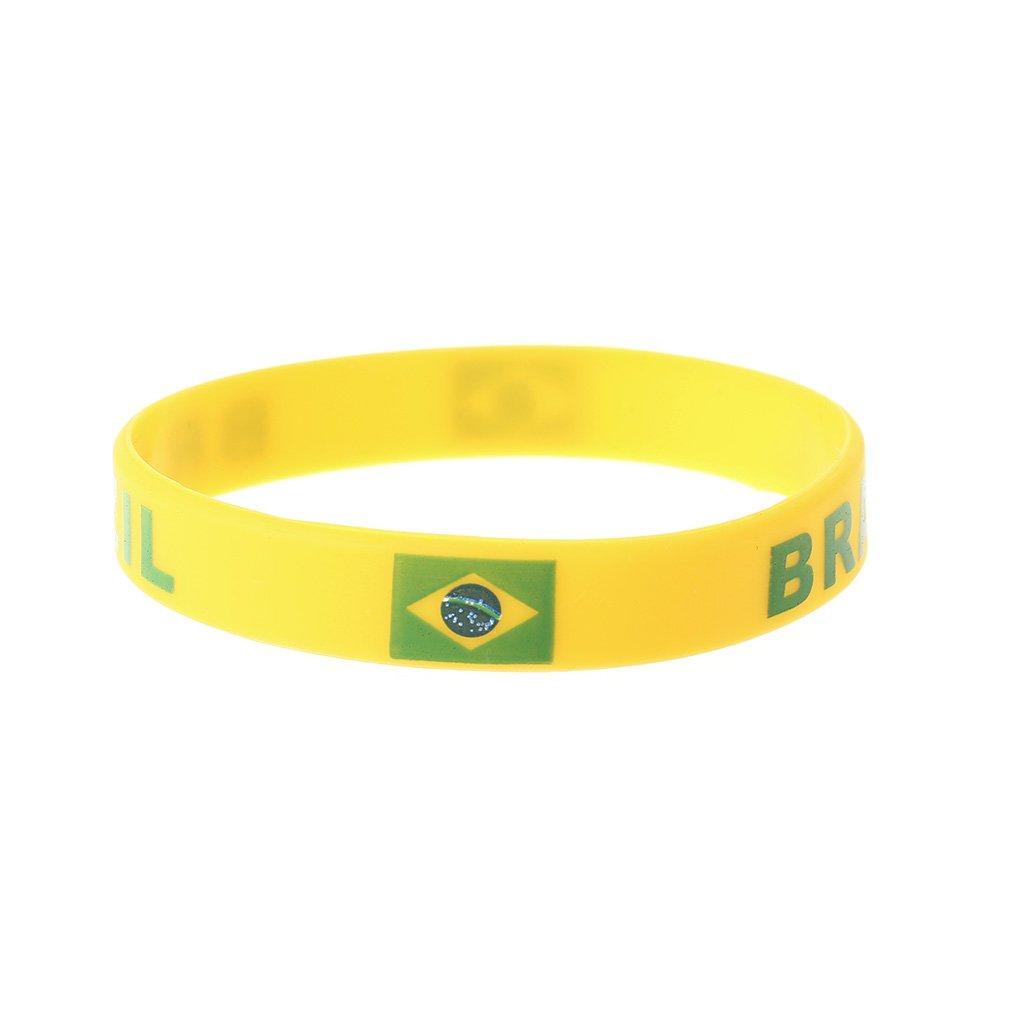 xumeili RussiaスポーツMeet Footballファンブレスレットチアリーディングシリコンリストバンド国旗 B07DNVQLC1 ブラジル ブラジル