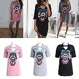 Search : JUA PORROR Women Skull Print T Shirt dress Vestidos Rock Pin Up Club Loose Mini Dress Summer Casual dress Punk Dress