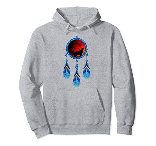 Unisex Native American Tribal Feathers Spirit Hoodie Sweatshirt XL: Heather Grey -