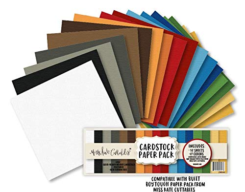Cardstock Paper Pack - Built Boy Tough - 32 Sheets Solid Core Textured Card Stock - Custom Colors Matched for Our Designs - Card Making Crafting Scrapbook - by Miss Kate Cuttables (Textured Solid Cardstock)
