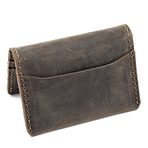 Leather Bi Distressed Fold (Pegai Modern Minimalist Credit Card Wallet, Distressed Leather Bifold Card Wallet - Champaign Chestnut Brown)