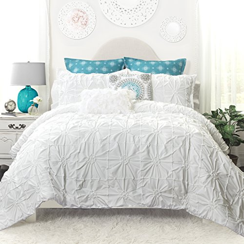 Aurora Bedding (DriftAway Drift Away Vintage-inspired 3 Piece Aurora Pinch Pleat Ruffled Designer Embellished Comforter Set)
