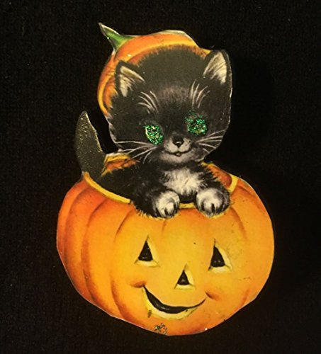 Brooch Handcrafted Wood Jack o' Lantern, 1950s Decoration, Black Cat, Jewelry, Daughter Gift, Pumpkin Hat (1950s Brooch)