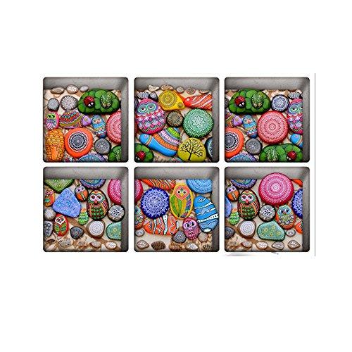 H4S Peel and Stick Non Slip Vinyl Bathtub Stickers Bathtub Appliques Bathtub Decals Pack of 6, Painted Pebbles Pattern