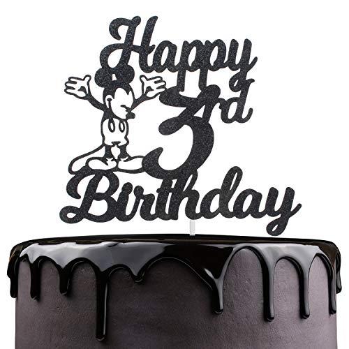 Happy 3rd Birthday Cake Topper - Disney Mickey Mouse Theme Black Glitter Décor - Novelty Kids Third Birthday Party Decoration - Baby Shower Three Years Cake Derocation