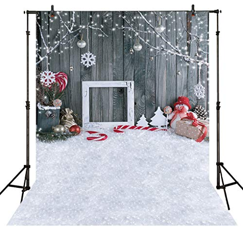 Allenjoy 5X7FT Christmas Snowman Gray Wood Wall Photography Backdrop Winter Holiday Xmas Decorations Indoor Snowflake Background Photo Studio Props Photobooth Photocall