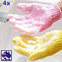 4pcs Body Bath Exfoliating Spa Massage Shower Scrub Glove Colorful, Convenient, Soft Material, Smooth, Improve Circulation, Tan Dead Skin Removal Exfoliator Great Gifts for Women Men