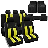 FH-FB036115 Striking Striped Seat Covers, Yellow / Black with F11306 Vinyl Floor Mats- Fit Most Car, Truck, Suv, or Van
