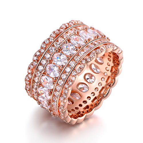 Barzel Rose Gold Plated Cubic Zirconia Wide Band Cocktail Ring (5) (Band Gold Wide)