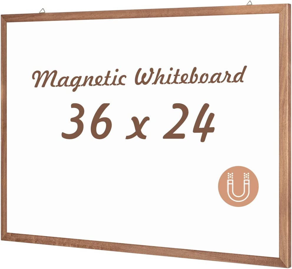 Magnetic White Board with Wooden Frame 36 x 24 inches Dry Erase Board Wall Mounted Marker Board for Home, Office, Classroom