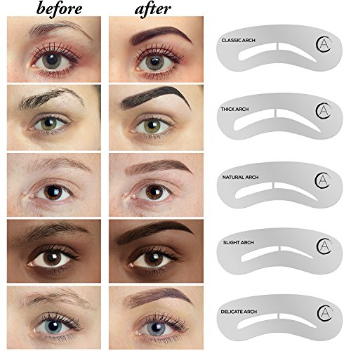 Aesthetica 5 Piece Brow Stencils Easy To Use Eyebrow Shaping Defining Stencils Step By Step Instructions Included