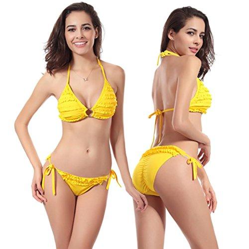Goodsatar Mujer Verano Traje de baño Bikini Set Push-up Sujetador con relleno Traje de baño de poliéster Multi Color Disponible Amarillo