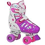 Pacer XT70 Adjustable Artistic Quad Roller Skates for Youth Children (white medium)