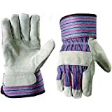 G & F 5015L-5 Regular Cowhide Leather Palm Work Gloves with rubberized safety cuff Large, 5-Pair pack