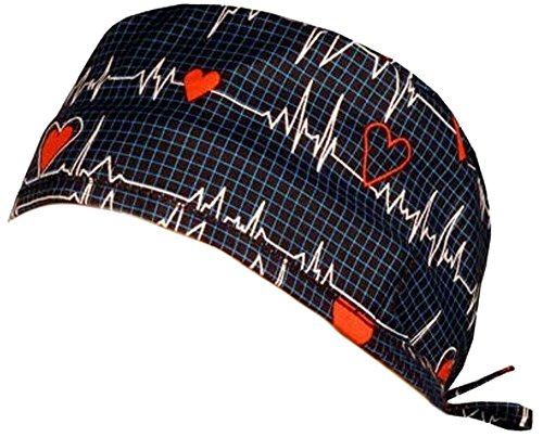 - Mens and Womens Medical Scrub Cap - Heartbeats on Navy