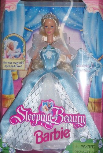 - Barbie 1998 Sleeping Beauty Doll with Dress, Shoes and Musical Pillow Plus Her Eyes Magically Open and Close