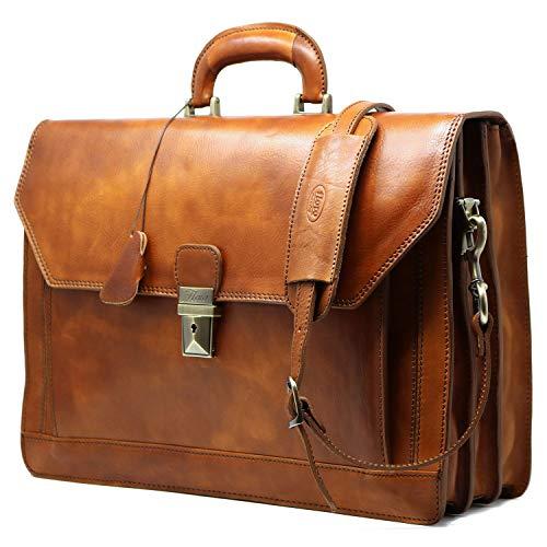 Floto Venezia Vecchio Brown Briefcase Attache Lap-top Case ... (Tobacco Brown)