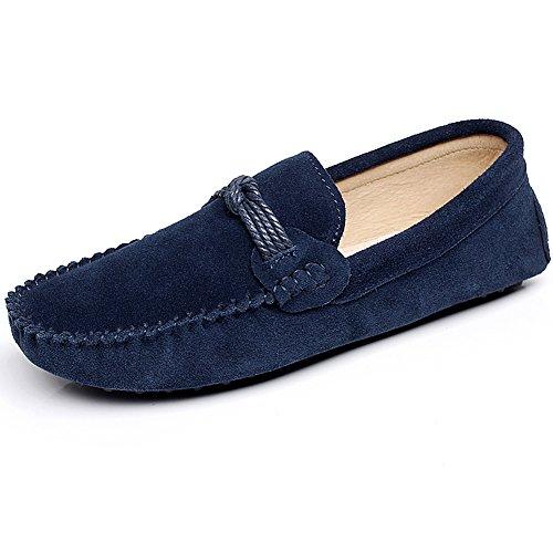 Shenn Men's Slip On Braid Driving Car Flat Moccasin Suede Loafer Shoes Navy Blue