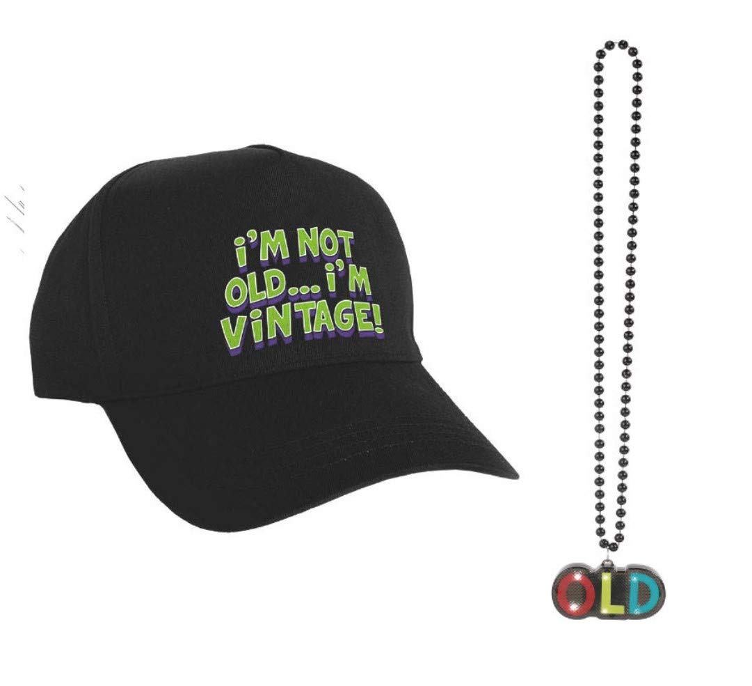 Old Age Humor Birthday Gift Party Bundle -- ''OLD'' Light Up Necklace and a Baseball Cap -- Good for Any Age -- Man or Woman