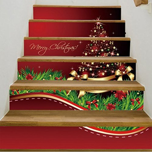 Merry Christmas Tree Snowman Tile Pattern Stair Stickers Self-adhesive DIY Removable Wall Decals 6pcs/set (Christmas tree, LxW=100x18cm/39.3x7.0 (Christmas Decal Set)