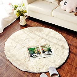 SANNIX Round Shaggy Area Rugs and Carpet Super Soft Bedroom Carpet Rug for Kids Play(Beige,0.8X0.8M)