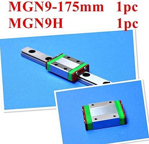 Nologo WJW-DAOGUI, 1set Set Miniatur-Linearführungsschiene MGN9 9mm Linear-Schiene Slide: 1 St. MGN9-L175mm Bahn + 1 Pc MGN9H Carriage CNC-Drehteile 3D-Drucker