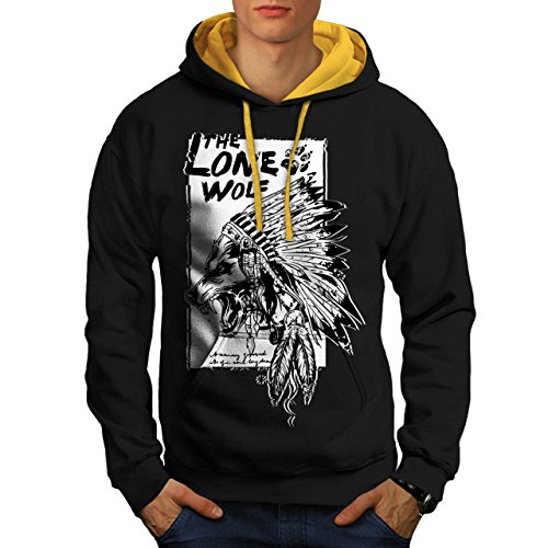 [The Lone Wolf Indian Wild Pack Men S Contrast Hoodie | Wellcoda] (Man Inside Big Bird Costume)