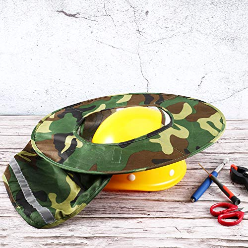 Jovitec 2 Pieces Helmet Sun Shade Hard Hat Sun Neck Shield with Full Brim, Reflective Stripe, Adhesive Hook for Safety Helmet (Camouflage) by Jovitec (Image #2)