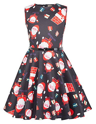 Kate Kasin Girls Floral Printed Casual Swing Dresses with Belt (9-10yrs, Christmas)