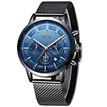 LIGE Relojes Hombre Impermeable Acero Inoxidable Analógico Cuarzo Relojes Hombre Negocios Automática Fecha Relojes