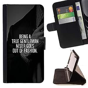 BullDog Case - FOR/Samsung Galaxy S6 / - / gentleman fashion suit text smart advice /- Monedero de cuero de la PU Llevar cubierta de la caja con el ID Credit Card Slots Flip funda de cuer
