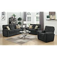Coaster 506585-CO Fabric Loveseat, Charcoal Finish