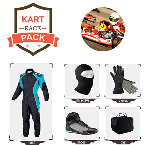 Go Kart Racing Suit Suit,Gloves,Balaclava and Shoes Free Bag - Black with Blue Side ()