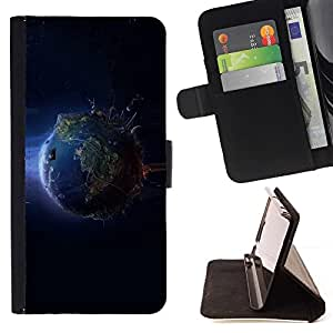 BETTY - FOR Samsung Galaxy S4 IV I9500 - Cool Planet Earth From Space - Style PU Leather Case Wallet Flip Stand Flap Closure Cover