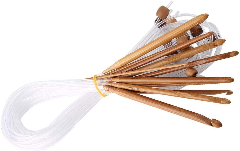 12pcs Carbonized Bamboo Crochet Hook With Adjoined Plastic Cable for Flexibility