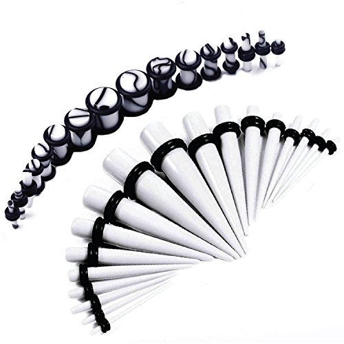 BodyJ4You 30PCS Gauges Kit White Tapers and Plugs Spots Polka Dot Plug 14G-0G Ear Stretching Set