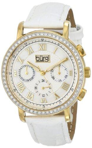 Burgi Women's BUR087YGW Analog Display Swiss Quartz White Watch