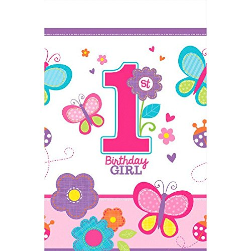 Amscan Plastic Table Cover | 1st Birthday | Girl | Flowers and Butterflies Collection
